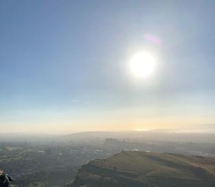 View over hazy Edinburgh castle